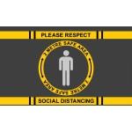 Covid 19 - Respect Social Distancing Safe Area - Mat Landscape