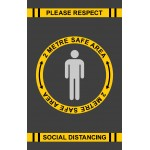 Covid 19 - Respect Social Distancing Safe Area - Mat Portrait